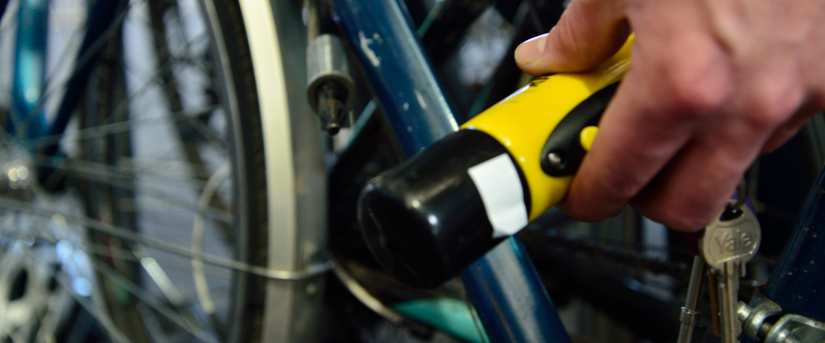 Close up image of bicycle D- lock