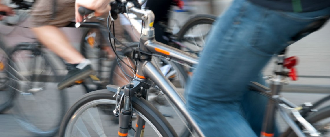 close up image of cyclists in traffic