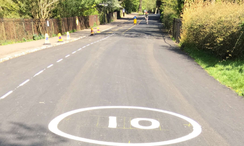 Photo of new 10mph road marking