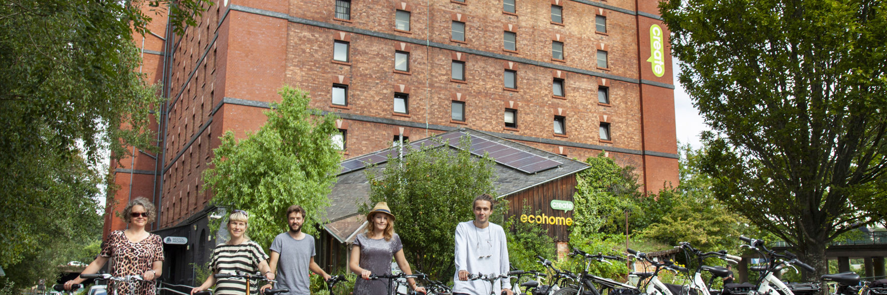 Loan bike scheme promotional photo outside Create Centre Bristol