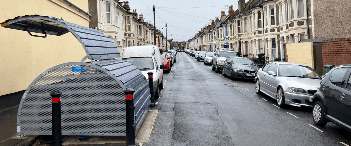 Public bike secure storage installed on quiet street
