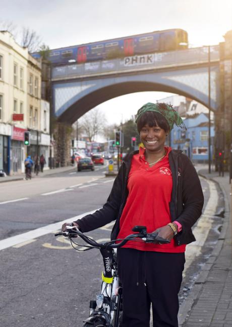 Franciska cycling on Gloucester Road