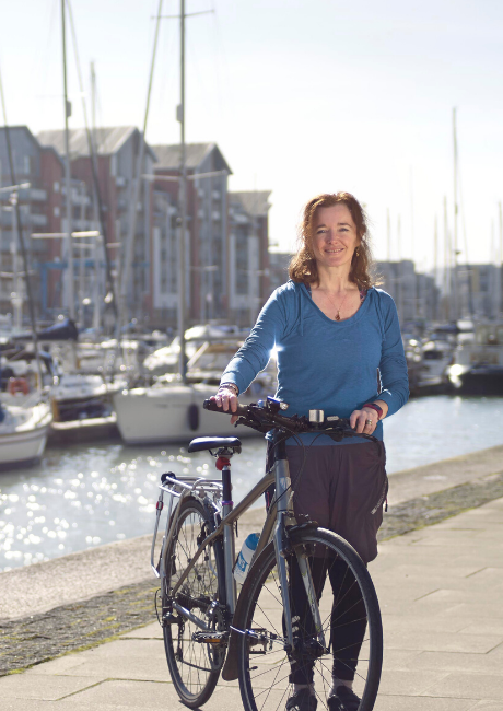 Rachel cycling in Portishead marina