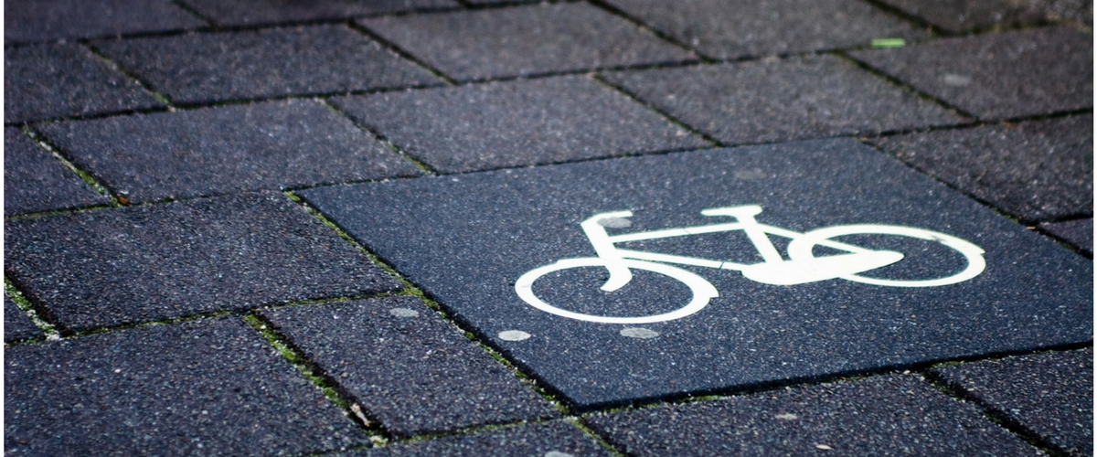 Close up of cycle symbol on public pavement