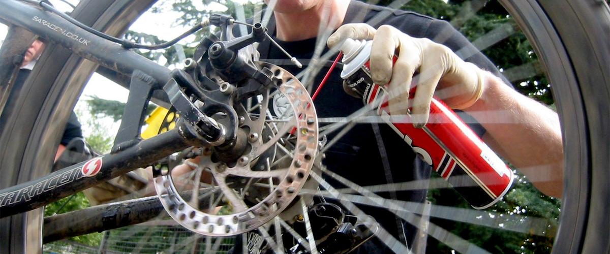 Bike mechanic fixing a bike