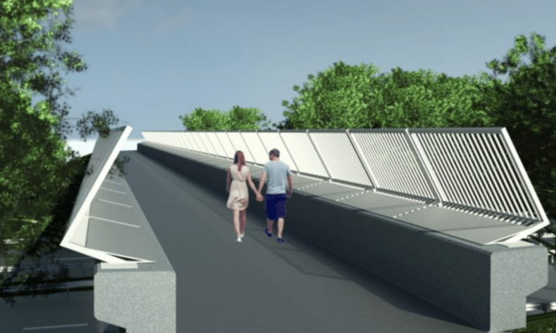 CGI image of newlands bridge with a couple walking along
