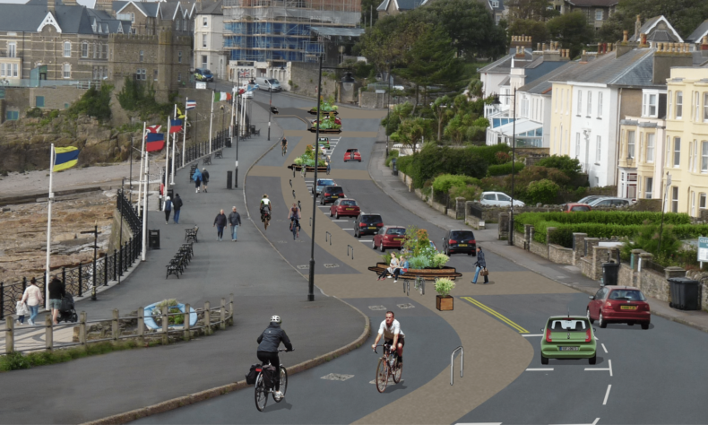 Artist illustration showing pedestrian and cycle routes in Clevedon