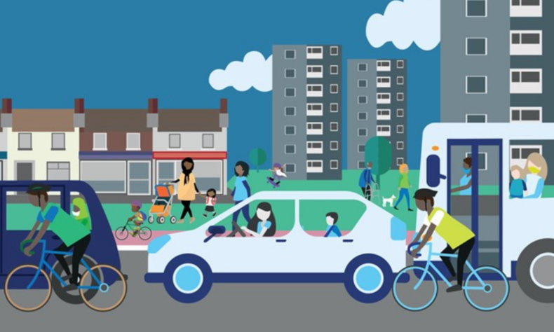 Illustration of people waking cycling and driving e vehicles