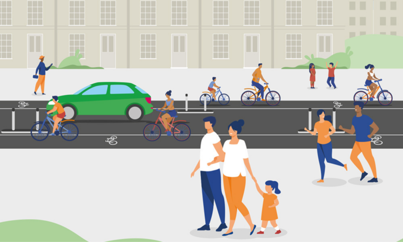 Illustration of people walking and cycling