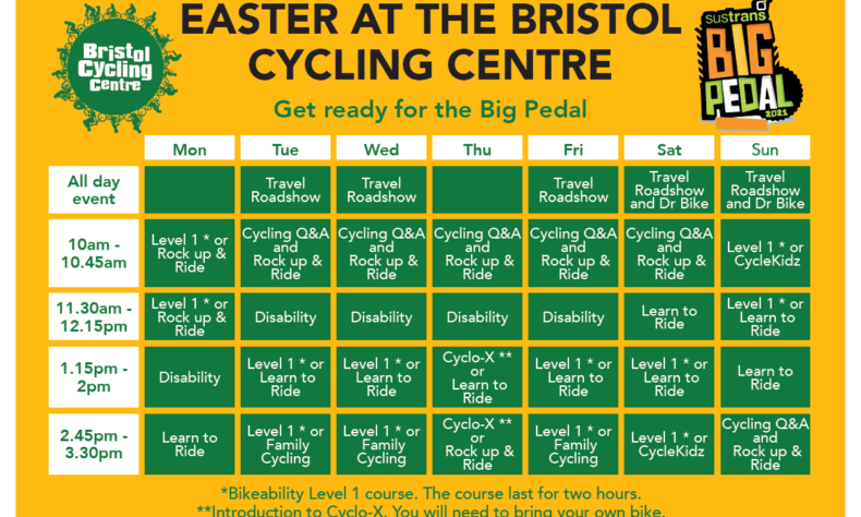 Illustrative image of the upcoming Family Cycling Centre timetable