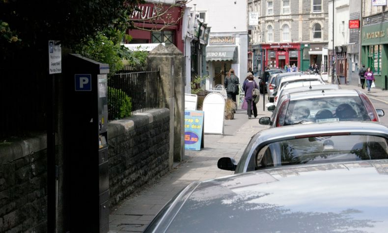 Cotham Hill Bristol shops with parked cars
