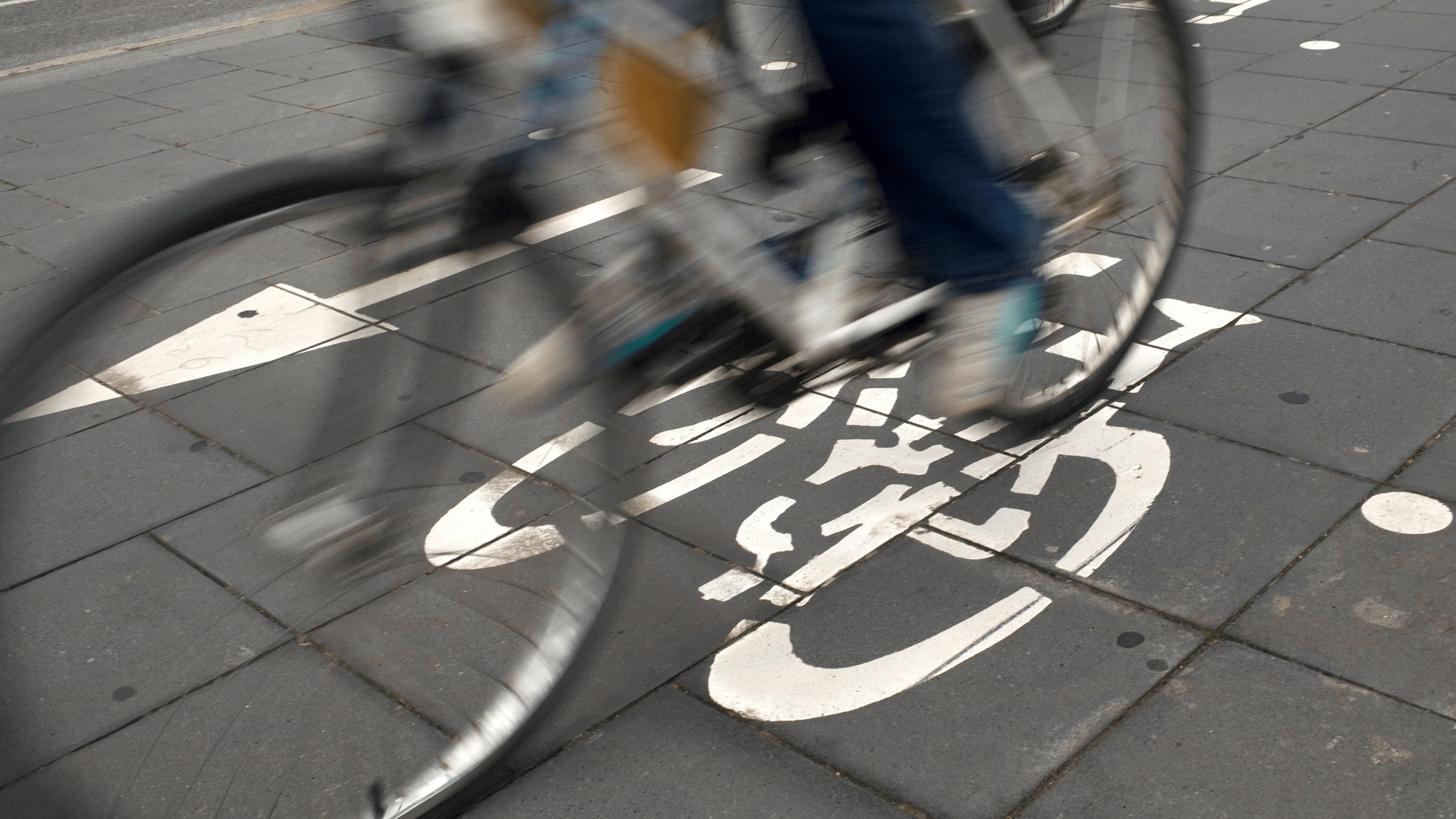 Close up image of cycle lane markings