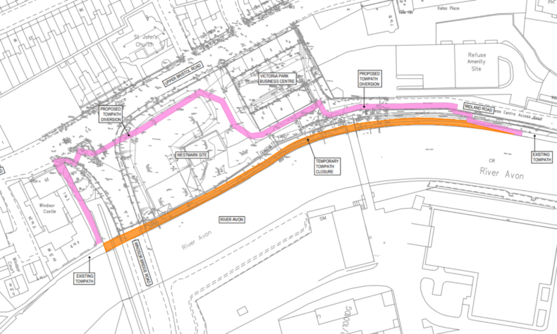 Map showing route diversion of closure of Bath towpath