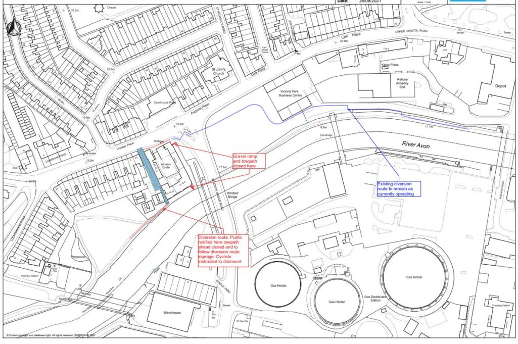 The final section of the temporary towpath diversion at Bath Western Riverside for major gas works will follow a new route from 24 September.