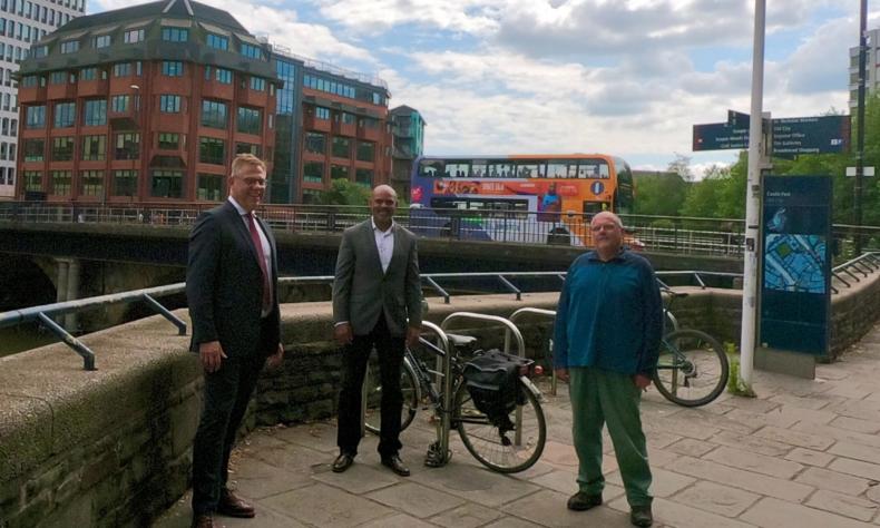 Doug Claringbold (First) Marvin Rees and Cllr Don Alexander at Bristol Bridge