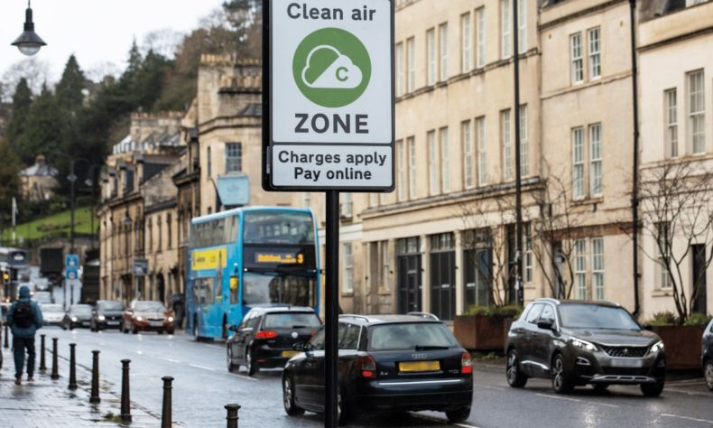 Clean Air Zone road sign in Bath city centre
