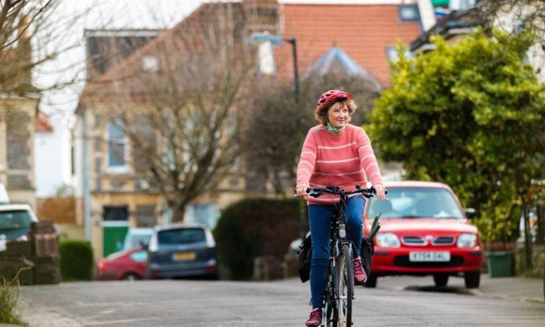 Women riding an ebike